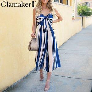 Glamaker Striped bow bandage été combinaisons barboteuses sexy combinaison lâche salopette dos nu Combinaison combinée sans bretelles femmes
