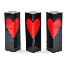 Tubo de lápiz labial vacío Forma de corazón Botella de embalaje de lápiz labial cuadrado negro Contenedor de cosméticos DIY con patrón de corazón rojo
