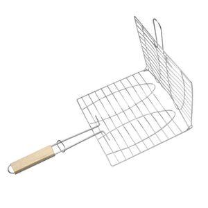 여름 야외 구이 플레이트 클립 구이 바구니 구이 접이식 고기 햄버거 그물 바베큐 도구 클립 4 손잡이 45my ZZ