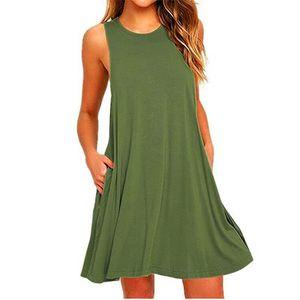 Summer's New Sleeveless O-Neck Womens's Pockets Dress Loose Casual Swing T-shirt Dressess 6Colors S M L XL XXL free shipping