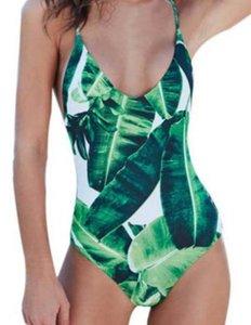 Ropa de verano Nuevas mujeres Sling Traje de baño Estampado de hojas Traje de baño Traje de baño atractivo Leak Back Tether Bikini Traje de baño de color blanco y verde