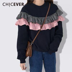 CHCIEVER Primavera Black Sweatsirt femminile Per le donne Top Pullover manica lunga sciolto Ruffles Pullover Felpe Abiti Moda