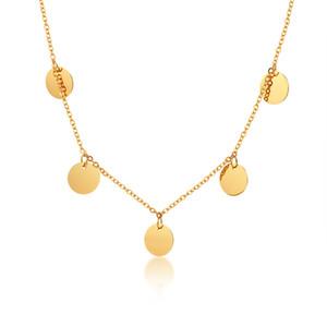 Collier en acier inoxydable Boho Gold Disc Round Sequin Coin Choker Chain