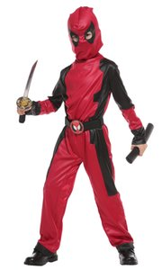 Shanghai Story Kids Deadpool Costume With Mask Hooded Dead Pool Halloween Cosplay Unisex Jumpsuits Superhero Death Costume