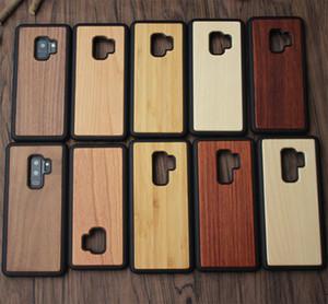 Für iPhone X Samsung S8 S9 Plus Holzetui Für Hinweis 8 Echte Bambus-Holzetuis Iphone 8 7 Case Holz-rückseitige Abdeckung mit TPU-Stoßfest DHL-frei