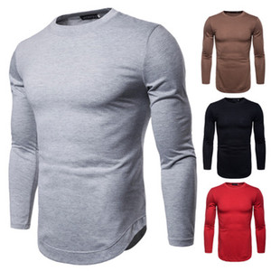 2018 autumn new tide men's long-sleeved solid color T-shirt bottoming shirt European code foreign trade wholesale large size T-shirt