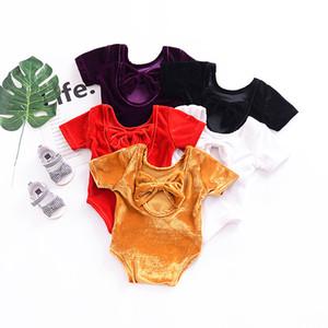 2018 여름 베이비 걸 Rompers 반팔 무쌍 바느질 Pleuche Romper Jumpsuit 유아용 아기 Corduroy Rompers 신생아 옷 5 색