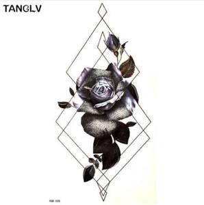 Black Flower Big Pattern Design Wasserdicht Temporäre Tätowierung Männer Frauen Flash Tattoo Wassertransfer Tattoo Aufkleber