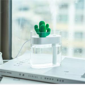 Bonito Transparente Prickly Pear Desktop Desktop Umidificador Umidificador de Ar 160 ML Led Light USB Difusor Purificador