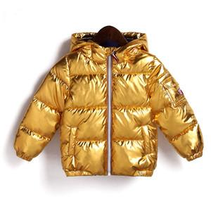 Crianças Casaco de Inverno para Meninos Meninas de Prata Casaco Com Capuz de Ouro Casuais Bebê Roupas Quentes Outwear Crianças Parka Jaqueta de Espaço terno