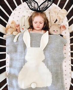 Soft Kids Blankets, Cute Rabbit Crochet Newborn Blanket Baby Bedding Cover Bath Towels Play Mat - INS Photo Props