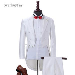 2018 Nuovo arrivo Custom Made Set completo da uomo Abiti da uomo Fashion Blazer Bianco / Nero / Rosso Abiti da sposa sposo Frac (Jacket + Pants) 2 pezzi