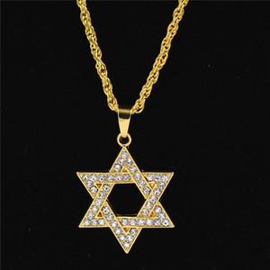 Collana a ciondolo a sei stelle da uomo hip-hop color oro con micro pavè ghiacciato con pietre zirconi, ciondolo stella di David, collane regalo