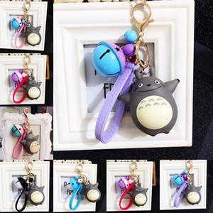 Anime Totoro llavero con campana mosquetón llavero llaveros titulares bolsa cuelga joyería de moda para mujeres niños regalo gota envío
