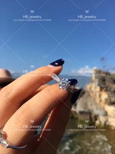 seis garras de 2 quilates 2ct anillos de diamantes para el diseño Fiesta de la Mujer Señora de la manera pares de la boda de imitación de la joyería del regalo con la CAJA