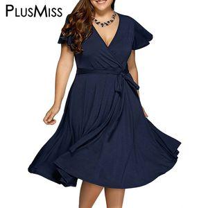 Wholesale- Plus Size 9XL 8XL 7XL 6XL Women Clothes Summer 2017 Sexy V Neck Dress Vintage Office Work Wear Midi Dress Oversize Sundress
