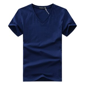 Yaz Erkek V Yaka T Gömlek Yeni Pamuk Tee Katı Moda T-Shirt Rahat Kısa Kollu Slim Fit ÜST Gömlek Satış Için