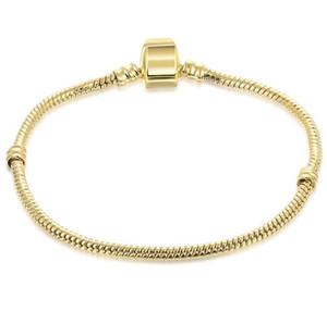 Mischungsgröße Retro-Gold überzog Armband mit LOGO Charme 17CM-21CM Schlangenkette DIY Schmucksache-Zusätze passte europäischen Art-Korne ...