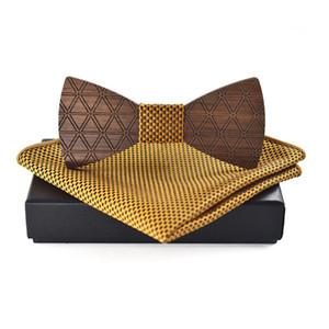 Venta al por mayor Nueva madera Bowtie pañuelo conjuntos para hombre traje de madera Bow Tie Shirt Bowknots banquete de boda bolsillo cuadrado Bow Tie