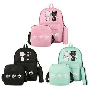 3 pcs Mulheres Gatos Impressão Lona Mochila Mochilas Escolares para Adolescente Meninas Bolsa de Ombro com Lápis Caso Moda Mochilas de Viagem