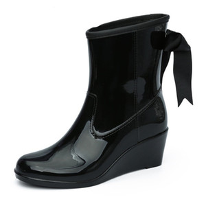 2020 Fashion Elastic Band Solid Women Rain Boot Waterproof Women Boots Rubber Low Heel Shoes SIZE