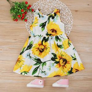 1-7 T Sommer Kinder Kleider Mädchen Sonnenblumendruck Baby Sleeveless Prinzessin Weste Kleid Baumwolle Kinder Kleidung Drop Shipping