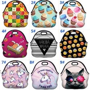 Bolsas impermeables de la fiambrera Bolsas de la comida campestre de la neopreno de la comida fría más templada de los contenedores de picnic Organización para Emoji Unicorn Flamingo WX9-926
