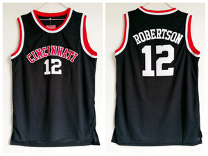 Homens Cincinnati Bearcats Oscar Robertson College Basketball Shirts Vintage Preto 12 Oscar Robertson costurado Universidade Basketball Jerseys