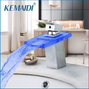 KEMAIDI LED 3 Color Bathroom Basin Sink Waterfall Chrome Mixer Tap Bathroom Faucet Led Faucet torneira Mixer Faucets