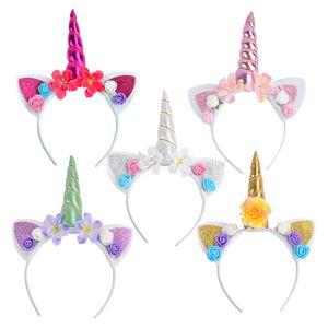 2018 1Pcs DIY Kids Unicorn Headband Glitter Hairband Rainbow Unicorn Horn Hairband unicorn Bonus para fiesta
