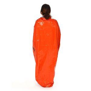 Im Freien Erste-Hilfe-Notfallschlafsack Strahlenschutz Wärmeschutz PE Tragbare Lebensrettungstaschen Orange 12at W