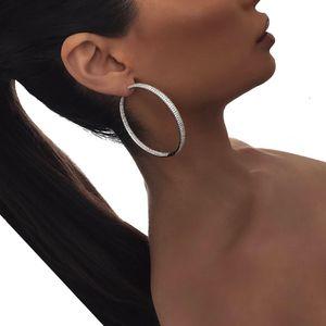 25 mm 50 mm grand petit cerceau huggie boucle d'oreille diamant pleine de laboratoire cz cercle pavé cerceaux femmes de la mode européenne cadeau 2018 bling design cerceaux