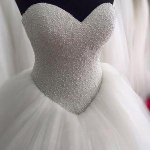 Lujoso cristal con cuentas cariño corpiño bola de corsé vestido de novia vestido de novia 2016 Bling Bling Estilo vestido nupcial