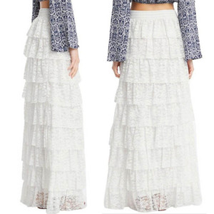 Trendy Elegant Women's Lace Layered Maxi Long Skirt Cake Skirts Lady Girl High Waist Floor Skirts