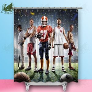 Vixm Multi-Sports stolzer Spieler in der großen Arena Duschvorhänge Polyester Stoff Vorhänge für Wohnkultur