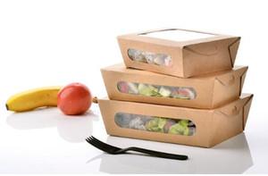 3 размер крафт-бумаги салат коробка одноразовые воды доказательство вынос Обед фрукты коробка кемпинг поставки посуда 400 шт./лот