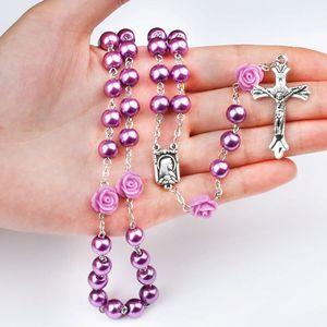 الوردية الكاثوليكية مادونا يسوع الصليب قلادة المعلقات اللؤلؤ حبة سلسلة الأزياء اعتقاد مجوهرات للنساء هبوط السفينة