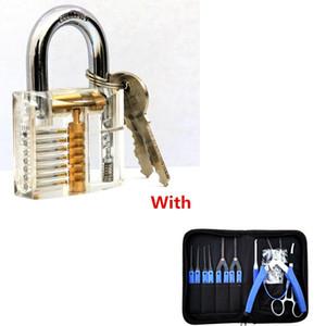 Lock-Picks Werkzeuge Transparent Sichtbare Cutaway Praxis Vorhängeschloss Mit 19Pcs Lock Broken Extractor Entfernen Key Removal Hooks Nadel BK185