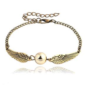 Quidditch golden snitch pocket Pulsera Harry Charm pulseras alas Potter vintage retro tono para hombres y mujeres al por mayor