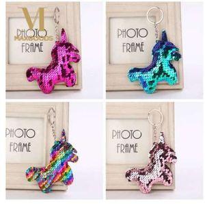 Sevimli Parlak Unicorn Boynuz Anahtarlık Moda Mermaid Sequins Kadınlar için Hayvan At Anahtarlık Anahtarlıklar Araba Çanta Kolye Takı