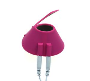 Electro Shock Scrotum Dispositivo de estiramiento Paracaídas Ball Stretcher, anillo eléctrico del pene del pene, juguetes sexuales para hombres Y18102306