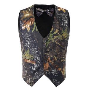 Yeni varış erkek camo yelek ile 2 takım resmi Iş yelek kravat camo Avcılık damat Yelekler