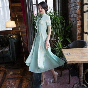 새로운 Qipao 긴 Cheongsams 드레스 두 조각 중국어 번체 복장 플러스 크기 여름 꽃 빈티지 오리엔탈 가운