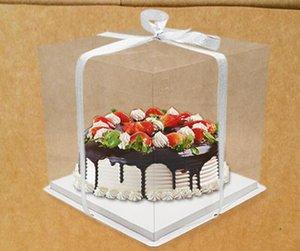 Caja de pastel de wedidng Clear PET transparente 4. 6,8,10 pulgadas Cajas de panadería, Caja de Mousse de la torta grande Cajas de cumpleaños 50pcs / lot Fre Shipping por Express
