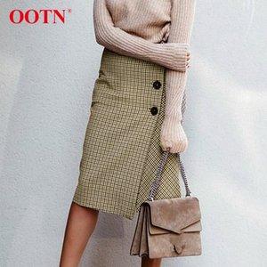 OOTN Haki Plaid Kadınlar Etek Yüksek Bel Asimetri Düğme Wrap Uzun Etekler 2018 Sonbahar Kış Bayanlar İnce Vintage Midi Etek