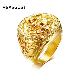 Meaeguet خمر النسر نمط مرساة الدائري للرجال الهيب هوب روك ستايل لون الذهب 316L الفولاذ المقاوم للصدأ حزب مجوهرات