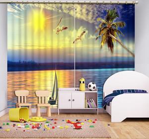 Décor à la maison 3D Rideaux Mouette voilier coco arbre 3D Rideaux Pour Salon Cuisine Fenêtre Rideau