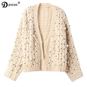 Perle à la main de luxe perles épaisses hiver cardigan femelle 2018 Nouveau Twist Design Oversize laine chandail femmes veste douce pull