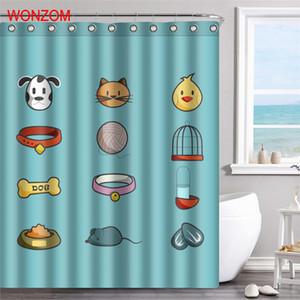 곰팡이 방지 욕실 데코 (12 개) 후크와 친환경 현대 고양이 개 욕실 방수 커튼 3D 폴리 에스터 직물 샤워 커튼
