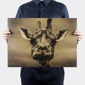 Vintage zürafa hayvan Retro Posteri dekoratif boyama kraft kağıt kağıt duvar sticker posterler cafe bar baskı resim 51x35.5 cm